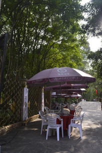 白云山公园路边遮阳伞餐桌