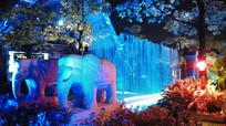 灯光喷泉夜景
