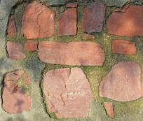 红色石头垒砌的墙面