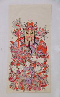 清代彩色图画神茶郁垒