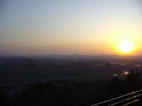 夕阳西下的北京