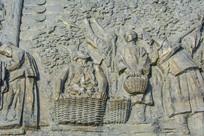 浮雕摘水果男人与卖水果男女