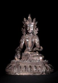 晚清铜鎏金佛像
