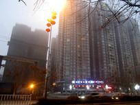 傍晚的清镇市区高楼