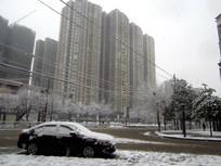 停在街边被雪覆盖的汽车