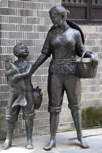 雕塑渔家母子