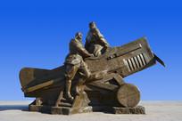 雕塑双翼机飞行员