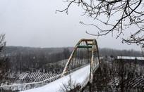 风雪中的彩虹桥与山林