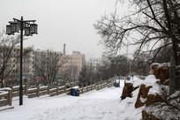 驻跸苑路面积雪与山下楼房