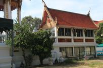 树木与泰式建筑房屋
