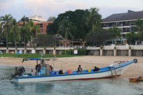 停泊在岸边的长条木船
