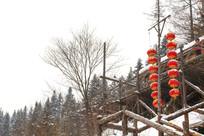 雪乡观景台冬季红灯笼积雪