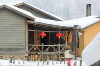 雪乡农家园干玉米积雪