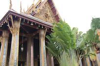 芭蕉叶旁的金色寺庙