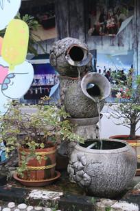 不断流水的石刻花瓶