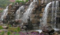 公园假山小瀑布景观