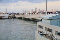 海边的白色大桥