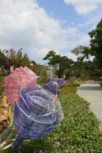 云台花园路边月季花雕塑