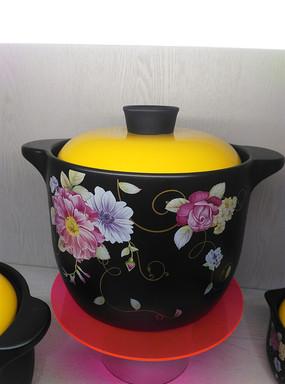 复古花朵图案汤煲