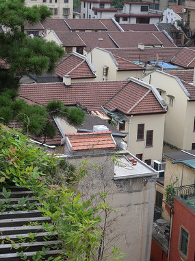 老上海石库门建筑俯拍