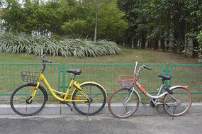栅栏旁的共享单车