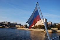 风中飘扬的俄罗斯国旗