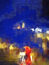 抽象油画之现代蓝色气势