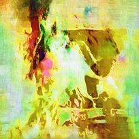 黄色调抽象艺术画