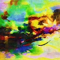 意境抽象油画之荷韵