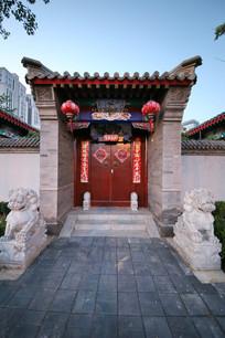 中式狮子门墩四合院大门