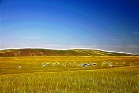 电脑画《牧场牛群》