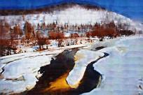 电脑油画《冰雪河流》
