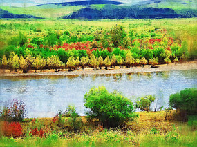 电脑油画《河流秋色》