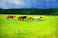 电脑油画《牧场马群》
