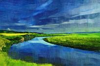 电脑油画《原野河湾》