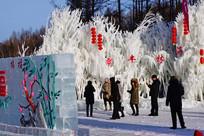 游客们在观赏冰雕