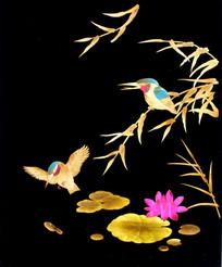 玉米秸秆画翠鸟