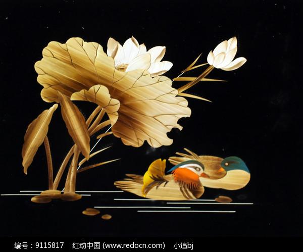 玉米秸秆画鸳鸯戏水图片