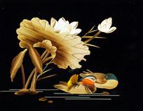 玉米秸秆画鸳鸯戏水