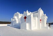 徽派建筑侧面全景雪雕