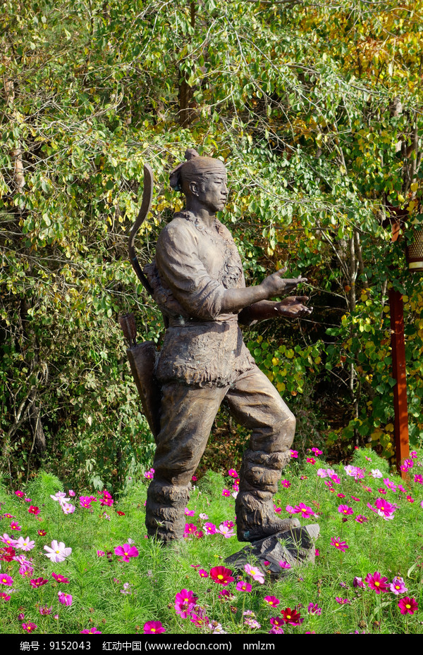 猎人 雕塑 图片