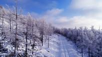 大兴安岭雪路风景