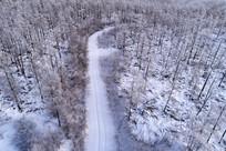 林海雪原山路弯弯(航拍)