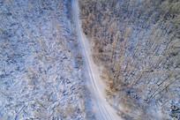 林海雪原雪路(航拍)