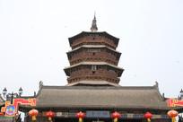 应县木塔的全景拍摄