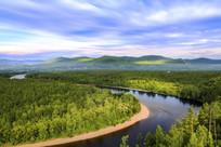 夏季白鹿岛河流风光