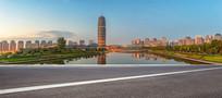 清晨的郑州郑东CBD城市风光
