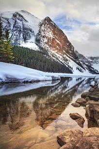 加拿大路易斯湖雪山湖水倒影