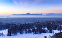 冬季长白山风光晨雾