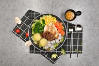 牛肉鸡肉蔬菜水果沙拉